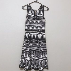 MILLY Black and White Fit and Flare Dress